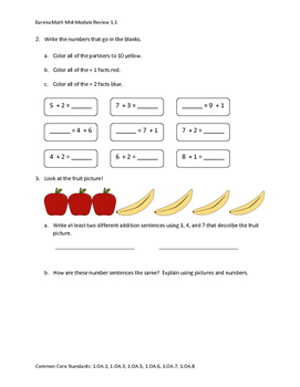 Eureka Math / Engage NY 1st Grade Mid and End Review Bundle module 1-6