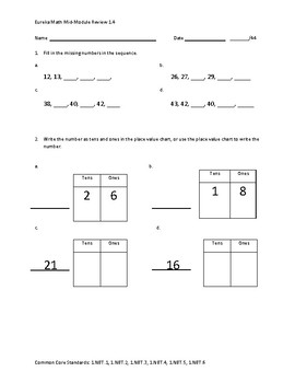 Eureka Math / Engage NY 1st Grade Mid-module review Module 4