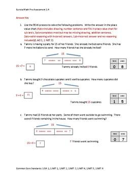 Eureka Math / Engage NY 1st Grade Pre-Assessment Module 4