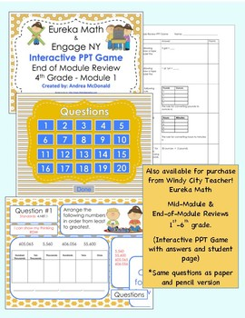 Eureka Math / Engage NY 1st Grade end-of-module review Module 3