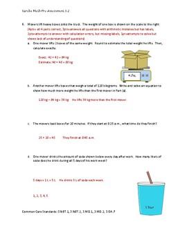 Eureka Math / Engage NY 3rd Grade pre-assessment module 2