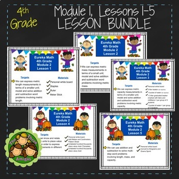 Eureka Math/Engage NY 4th Grade Module 2 LESSON BUNDLE (Lessons 1-5)