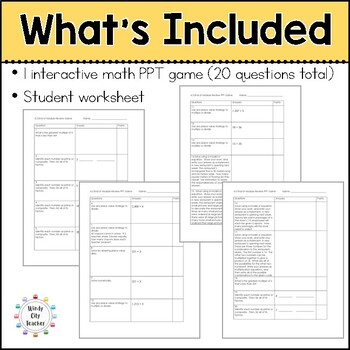 Eureka Math/ Engage NY 4th Grade Module 3 End-of-Module Review PPT Game