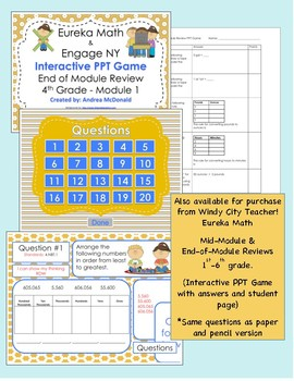 Eureka Math / Engage NY 4th Grade end-of-module review module 1