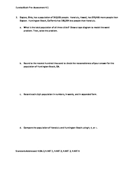 Eureka Math / Engage NY 4th Grade pre-assessment Bundle module 1-7