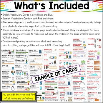 Eureka Math/Engage NY ENGLISH and SPANISH Vocab Grade 4 Modules 1-7