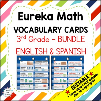 Eureka Math/Engage NY - ENGLISH and SPANISH Vocabulary 3rd Grade Modules 1-7