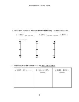 Eureka Math/Engage NY End of Module 1 Study Guide (Grade 5)
