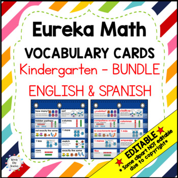 Eureka Math/Engage NY - ENGLISH and SPANISH Vocabulary Kindergarten Modules 1-6