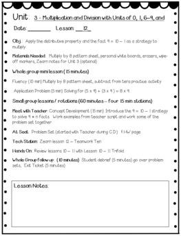 Eureka Math Engage NY Grade 3 Module 3 Editable Lesson Plans for Math Workshop