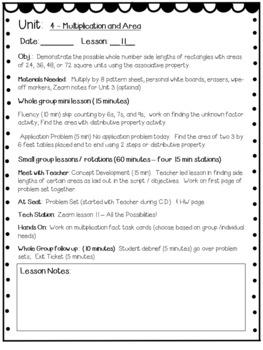 Eureka Math Engage NY Grade 3 Module 4 Editable Lesson Plans for Math Workshop