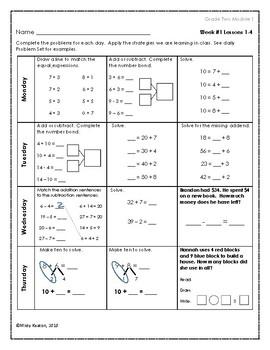 Eureka Math Grade Two Module 1 Weekly Homework