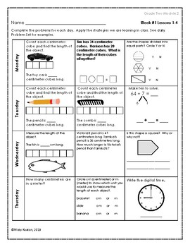Eureka Math Grade Two Module 2 Weekly Homework