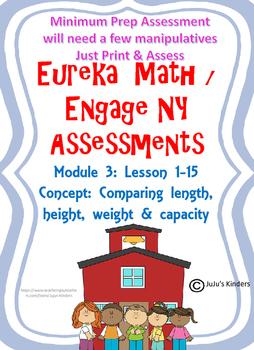 Eureka Math / Engage NY  Kindergarten Module 3 Measurement ASSESSMENT Min. PREP