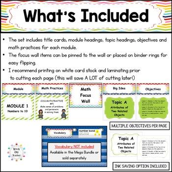 Eureka Math / Engage NY - Math Focus Wall Headings Kindergarten Rainbow