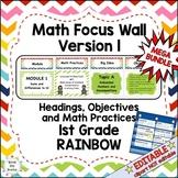 Eureka Math/Engage NY-Math Wall Bundle: Vocab & Objectives 1st Grade Rainbow