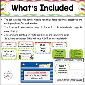 Eureka Math / Engage NY - Math Focus Wall 1st Grade : Common Core Aligned