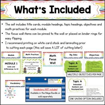 Eureka Math / Engage NY - Math Focus Wall Headings 1st Grade Color Rainbow