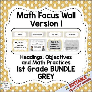 Eureka Math / Engage NY - Math Focus Wall Headings 1st Grade Color Grey