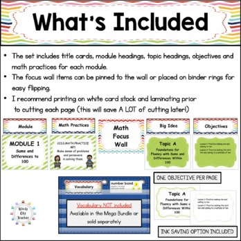 Eureka Math / Engage NY - Math Focus Wall Headings 2nd Grade Color Rainbow