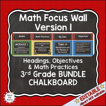 Eureka Math / Engage NY - Math Focus Wall 3rd Grade Chalkboard Theme