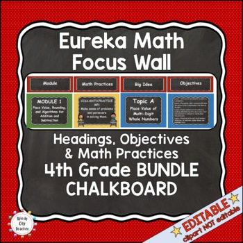 Eureka Math / Engage NY - Math Focus Wall 4th Grade Chalkboard Theme