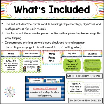Eureka Math / Engage NY - Math Focus Wall Headings 4th Grade Color Rainbow