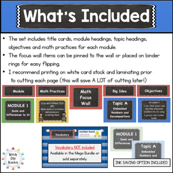 Eureka Math / Engage NY - Math Focus Wall Headings 1st Grade Color Chalkboard