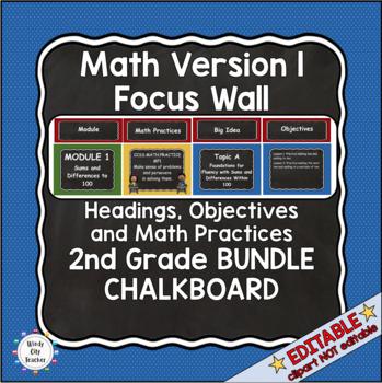 Eureka Math / Engage NY - Math Focus Wall Headings 2nd Grade Color Chalkboard