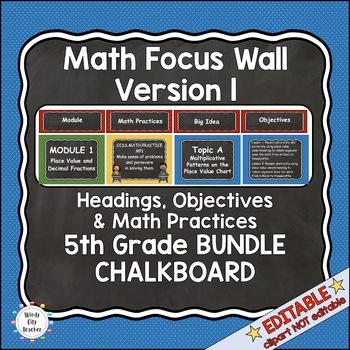 Eureka Math / Engage NY - Math Focus Wall Headings 5th Grade Color Chalkboard