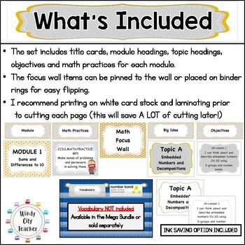 "Eureka Math / Engage NY - Math Focus Wall Headings ""I Can"" Objectives 1st Grade"