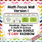 "Eureka Math / Engage NY-Math Focus Wall Headings 4th Grade ""I Can"" Color Rainbow"