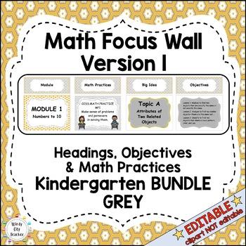 Eureka Math / Engage NY - Math Focus Wall Headings Kindergarten Color Grey