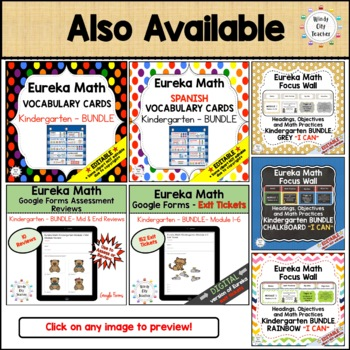Eureka Math / Engage NY - Math Focus Wall Headings Kindergarten Chalkboard
