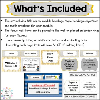 "Eureka Math / Engage NY - Math Focus Wall Headings  ""I Can"" Objectives Kinder"