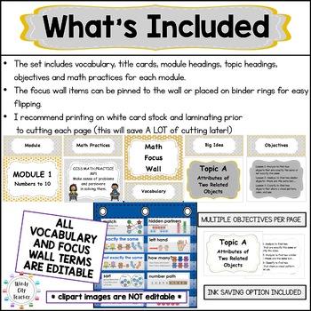 Eureka Math/Engage NY-Math Wall Vocab & Obj Kindergarten Grey MEGA BUNDLE