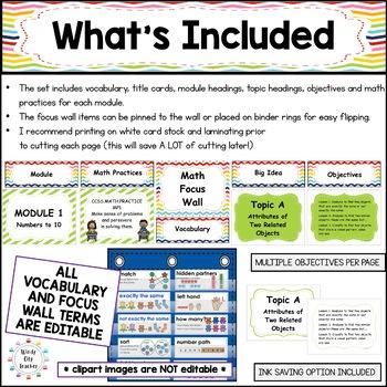 Eureka Math /Engage NY - Math Focus Wall Kindergarten Bundle:Common Core Aligned