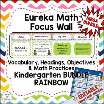 Eureka Math/Engage NY-Math Wall Bundle:Vocab & Objectives Kindergarten Rainbow