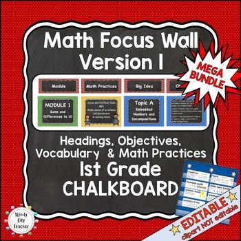 Eureka Math/Engage NY-Math Wall Bundle: Vocab & Objectives 1st Grade Chalkboard