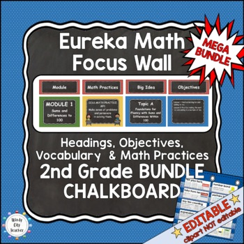 Eureka Math/Engage NY-Math Wall Bundle: Vocab & Objectives 2nd Grade Chalkboard