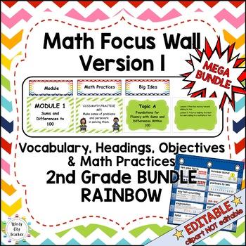 Eureka Math/Engage NY-Math Wall Bundle: Vocab & Objectives 2nd Grade Rainbow