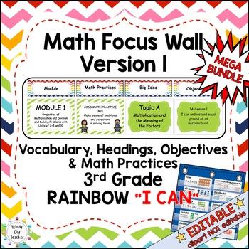 Eureka Math/Engage NY-Math Wall Bundle: Vocab & Objectives 3rd Grade Rainbow