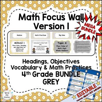 Eureka Math/Engage NY-Math Wall Bundle: Vocab & Objectives 4th Grade Color Grey