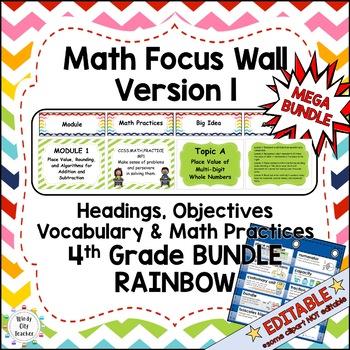 Eureka Math/Engage NY-Math Wall Bundle: Vocab & Objectives 4th Grade Rainbow