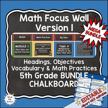 Eureka Math/Engage NY-Math Wall Bundle: Vocab & Objectives 5th Grade Chalkboard