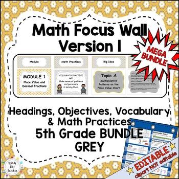 Eureka Math/Engage NY-Math Wall Bundle: Vocab & Objectives 5th Grade Color Grey