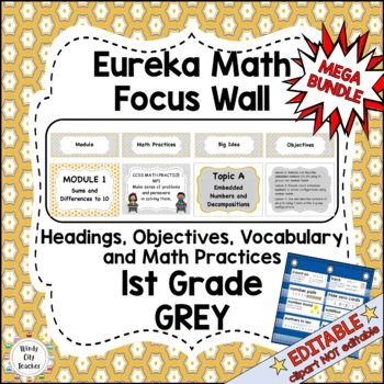 Eureka Math/Engage NY-Math Wall Bundle: Vocabulary & Objectives 1st Grade Grey