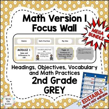 Eureka Math/Engage NY-Math Wall Bundle: Vocabulary & Objectives 2nd Grade Grey