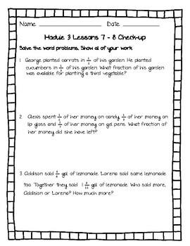Eureka Math (Engage NY) Module 3 Lessons 7 - 8 Assessment