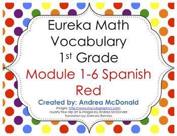 Eureka Math / Engage NY - SPANISH Vocab 1st Grade Bundle Modules 1-6:Common Core